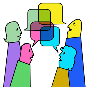 conversation cartoon talking four working clipart together discussion secret library engineering askiitians hosts institutes mumbai corporate training programs2 clip colleges