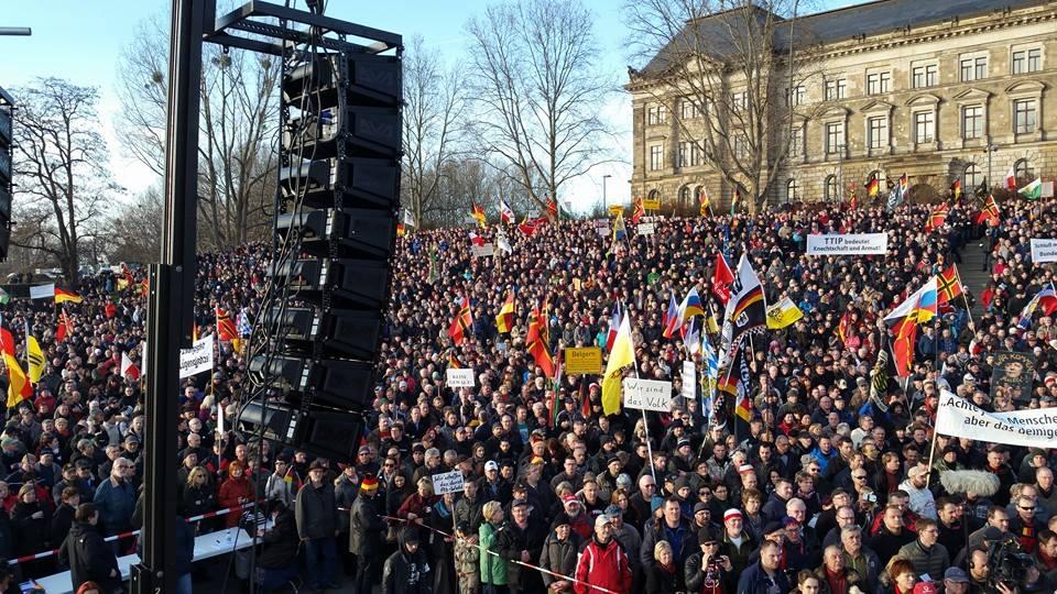 PEGIDA-Fortress Europe coordinated rally at the Königsufer ...  PEGIDA-Fortress...