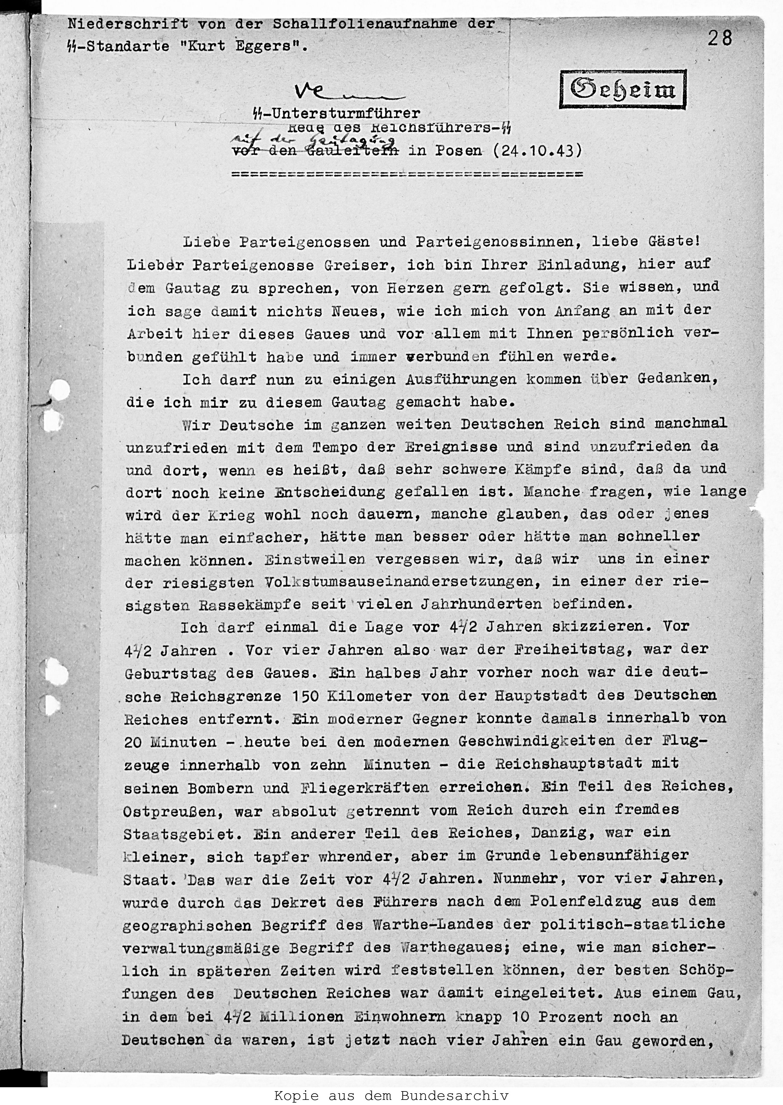 """comparison of two existing texts of heinrich himmler's """"freedom, Einladung"""