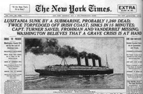 The Lusitania tragedy turned into pretext for US to enter war